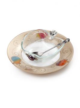 """תמונה של כלי לדבש בצורת תפוח עם צלוחית """"פרחים"""" - לילי אומנות"""