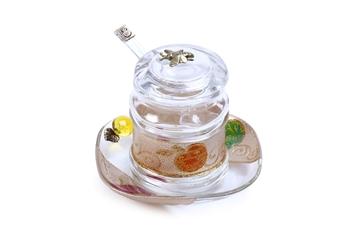 """תמונה של כלי לדבש עם מכסה וצלוחית """"שנה טובה"""" - לילי אומנות"""