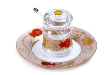 """תמונה של כלי לדבש עם מכסה וצלוחית """"רימונים"""" (אדום) - לילי אומנות"""
