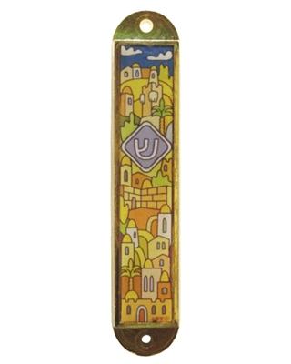 """תמונה של בית מזוזה לרכב מניקל עם איור """"ירושלים העתיקה"""""""