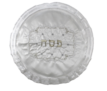 תמונה של כיסוי מצה מסאטן עם ריקמה זהובה