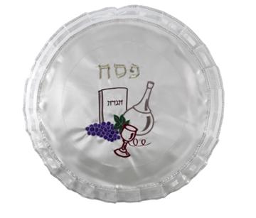 """תמונה של כיסוי מצה מסאטן עם ריקמה """"בקבוק"""""""