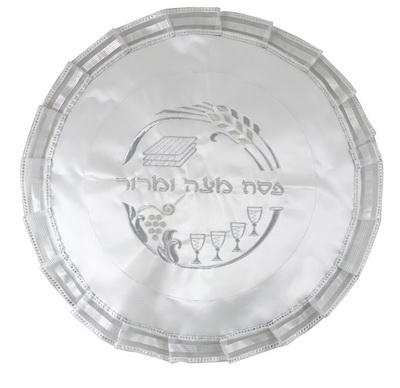 """תמונה של כיסוי מצה מבד עם ריקמת כסף """"ארבע כוסות"""""""