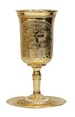 """תמונה של גביע קידוש ותחתית ממתכת מצופה זהב """"ירושלים העתיקה"""""""