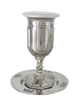 """תמונה של גביע קידוש ותחתית מניקל משובץ """"פאר"""""""