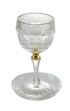 """תמונה של גביע קידוש ותחתית מקריסטל """"טבעת זהב"""""""