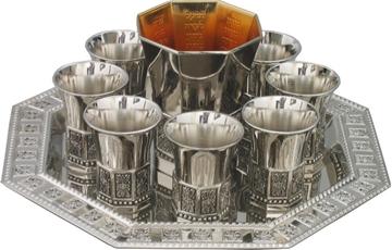 """תמונה של מזרקת יין 8 גביעים ממתכת מצופה כסף ומגש מניקל """"נהרות גן עדן"""""""