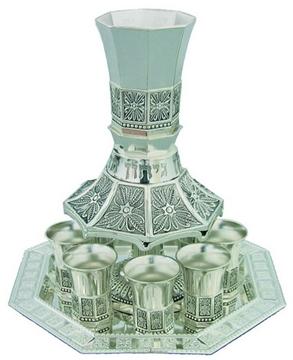 """תמונה של מזרקת יין 8 גביעים ממתכת מצופה כסף ומגש מניקל """"נהרות התנ""""ך"""""""