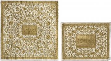תמונה של סט כיסוי מצה ואפיקומן ממשי רקום בסגנון אוריינטלי (זהב) - יאיר עמנואל