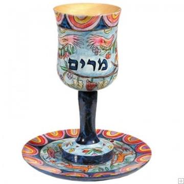 תמונה של כוס מרים ותחתית מעץ בסגנון אוריינטלי - יאיר עמנואל