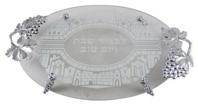"""תמונה של מגש לחלה מזכוכית """"ירושלים העתיקה"""""""