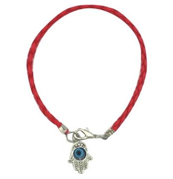 תמונה של צמיד קבלה חמסה עם עין מסתובבת וחוט אדום קלוע