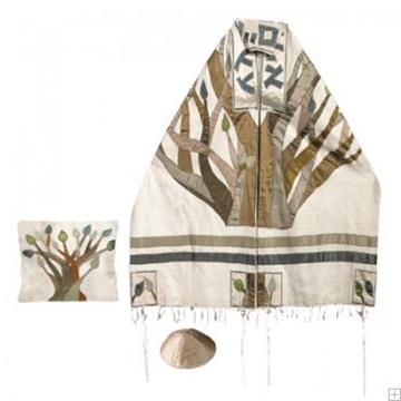 """תמונה של סט טלית ממשי רקום """"עץ החיים"""" - יאיר עמנואל"""