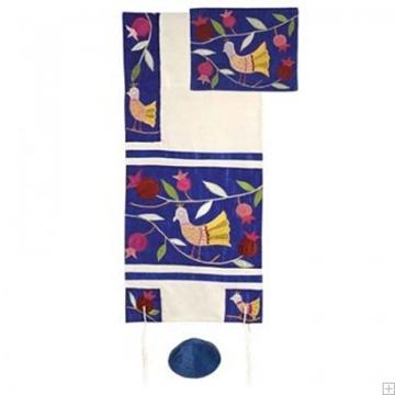 """תמונה של סט טלית ממשי רקום """"ציפורים"""" (כחול) - יאיר עמנואל"""
