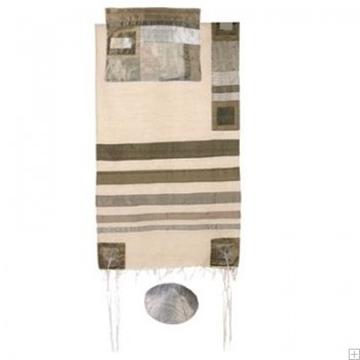 תמונה של סט טלית ממשי עם פסים (אפור על לבן) - יאיר עמנואל