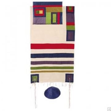 תמונה של סט טלית ממשי עם פסים (צבעוני) - יאיר עמנואל