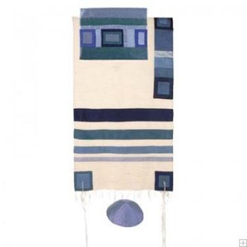 תמונה של סט טלית ממשי עם פסים (כחול) - יאיר עמנואל