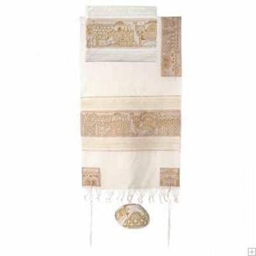 """תמונה של סט טלית מכותנה עם ריקמה מלאה """"ירושלים העתיקה"""" (זהב) - יאיר עמנואל"""