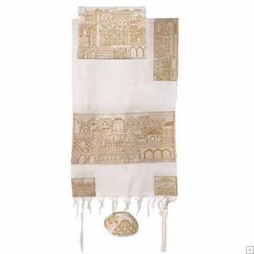 """תמונה של סט טלית מכותנה עם ריקמה בעבודת יד """"ירושלים העתיקה"""" (זהב) - יאיר עמנואל"""