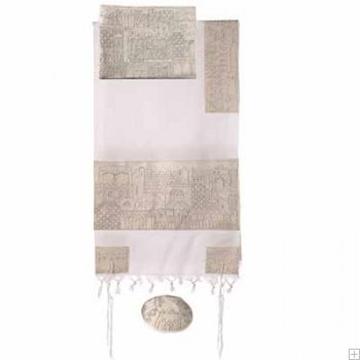 """תמונה של סט טלית מכותנה עם ריקמה בעבודת יד """"ירושלים העתיקה"""" (כסף) - יאיר עמנואל"""