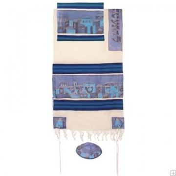 """תמונה של סט טלית מכותנה ומשי """"ירושלים העתיקה"""" (כחול) - יאיר עמנואל"""