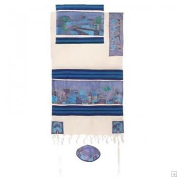 """תמונה של סט טלית מכותנה ומשי """"נוף ירושלים """" (כחול) - יאיר עמנואל"""