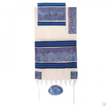 """תמונה של סט טלית מכותנה ומשי """"שנים עשר השבטים"""" (כחול) - יאיר עמנואל"""