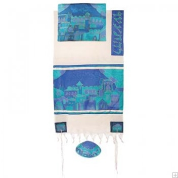 """תמונה של סט טלית מכותנה ומשי """"שערי ירושלים"""" (כחול) - יאיר עמנואל"""