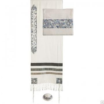 """תמונה של סט טלית ממשי רקום """"מגן דוד"""" (אפור) - יאיר עמנואל"""