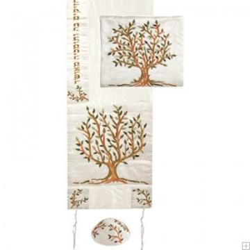 """תמונה של סט טלית ממשי רקום """"עץ החיים"""" (חום) - יאיר עמנואל"""