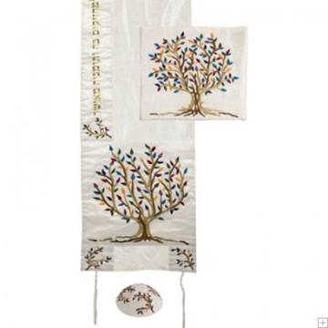 """תמונה של סט טלית ממשי רקום """"עץ החיים"""" (צבעוני) - יאיר עמנואל"""