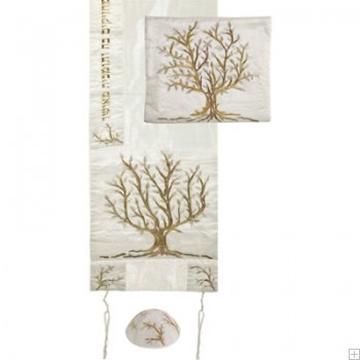 """תמונה של סט טלית ממשי רקום """"עץ החיים"""" (זהב) - יאיר עמנואל"""