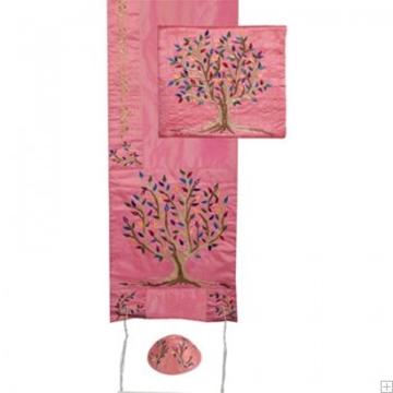 """תמונה של סט טלית ממשי רקום """"עץ החיים"""" (ורוד) - יאיר עמנואל"""
