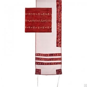 תמונה של סט טלית אורגנזה רקום פסים (אדום) - יאיר עמנואל