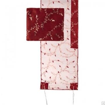 תמונה של סט טלית אורגנזה ריקמה מלאה (אדום) - יאיר עמנואל