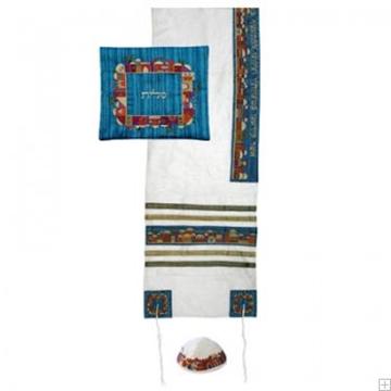 """תמונה של סט טלית ממשי רקום """"ירושלים העתיקה"""" (לבן) - יאיר עמנואל"""