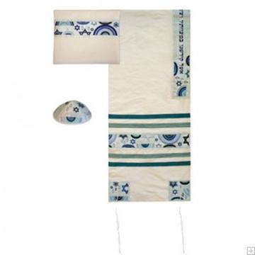 """תמונה של סט טלית ממשי רקום """"מגן דוד וקשתות"""" (כחול) - יאיר עמנואל"""