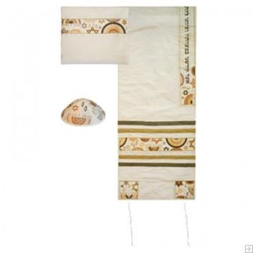 """תמונה של סט טלית ממשי רקום """"מגן דוד וקשתות"""" (זהב ולבן) - יאיר עמנואל"""