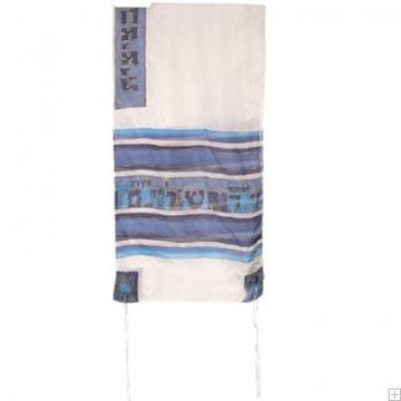 """תמונה של סט טלית ממשי צביעת יד """"ירושלים העתיקה"""" (כחול ולבן) - יאיר עמנואל"""