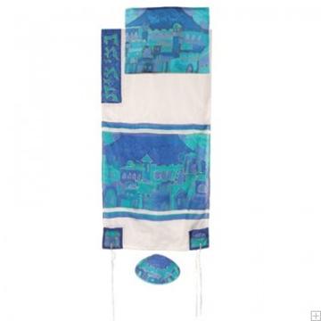 """תמונה של סט טלית ממשי צביעת יד """"שערי ירושלים"""" (כחול) - יאיר עמנואל"""