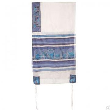 """תמונה של סט טלית ממשי צביעת יד """"שנים עשר השבטים"""" (כחול) - יאיר עמנואל"""