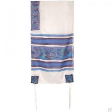 """תמונה של סט טלית ממשי צביעת יד """"נוף ירושלים"""" (כחול ולבן) - יאיר עמנואל"""