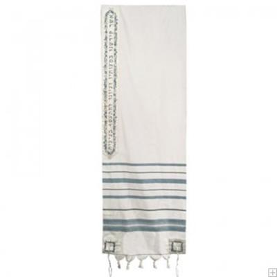"""תמונה של טלית מצמר עם ריקמה """"ירושלים העתיקה ברכה"""" (ירוק ים) - יאיר עמנואל"""