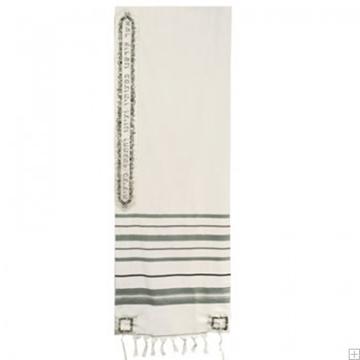 """תמונה של טלית מצמר עם ריקמה """"ירושלים העתיקה ברכה"""" (כחול) - יאיר עמנואל"""