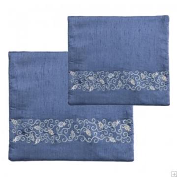 """תמונה של תיק לטלית ותפילין עם ריקמה """"רימונים"""" (כחול) - יאיר עמנואל"""