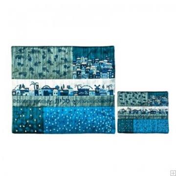 """תמונה של תיק לטלית ותפילין עם ריקמה """"ירושלים העתיקה"""" (כחול) - יאיר עמנואל"""
