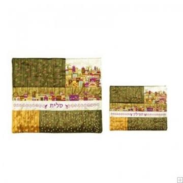 """תמונה של תיק לטלית ותפילין עם ריקמה """"ירושלים העתיקה"""" (צהוב) - יאיר עמנואל"""