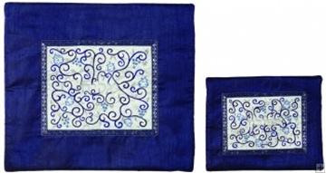 """תמונה של תיק לטלית ותפילין עם ריקמת משי """"רימונים"""" (כחול) - יאיר עמנואל"""