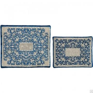 """תמונה של תיק לטלית ותפילין עם ריקמה מלאה """"פרחים"""" (כחול) - יאיר עמנואל"""