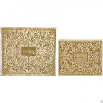"""תמונה של תיק לטלית ותפילין עם ריקמה מלאה """"פרחים"""" (זהב) - יאיר עמנואל"""